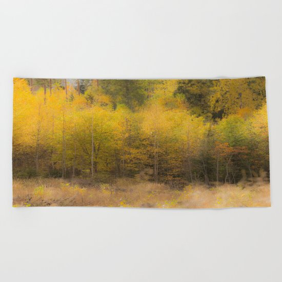 Fall color forest Beach Towel