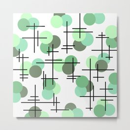 Atomic Age Molecules 5 Mint Green Sage Metal Print