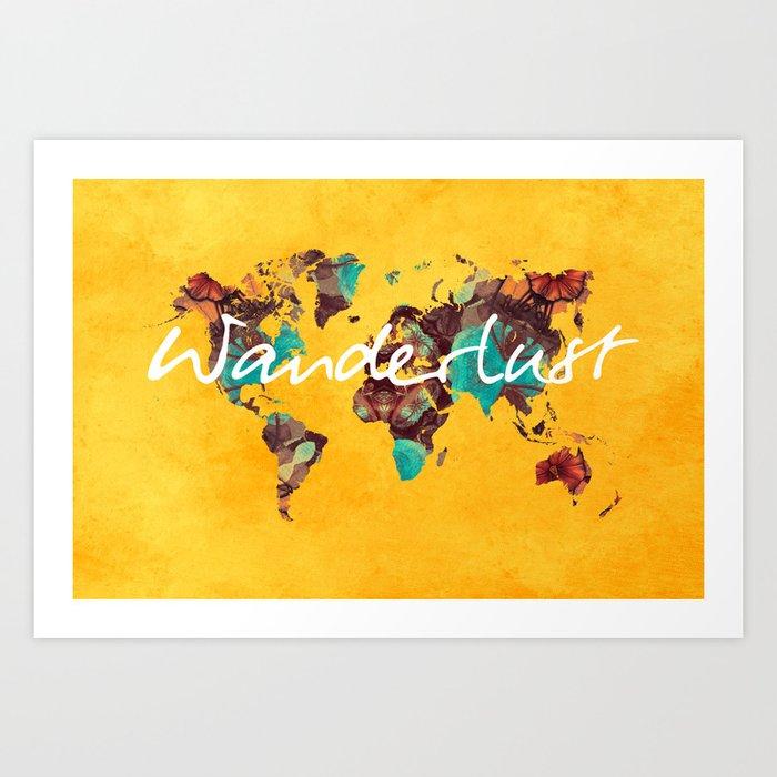 world map 123 wanderlust wanderlust map art print