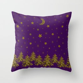 Sparkly gold Christmas tree, moon, stars on purple Throw Pillow