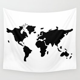 modern black world map Wall Tapestry