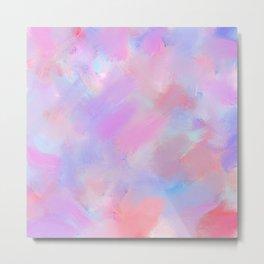 Artistic coral pink lavender watercolor brushstrokes Metal Print