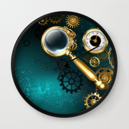 Magnifier in Steampunk Style Wall Clock