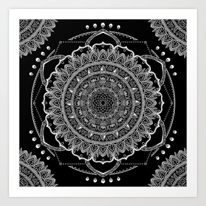 Black and White Geometric Mandala Art Print