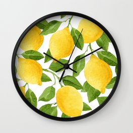 Yellow Lemon Pattern Watercolor Wall Clock