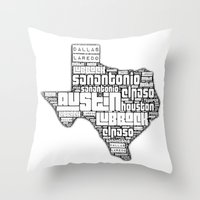 texas Throw Pillows featuring Texas! by Artsy B
