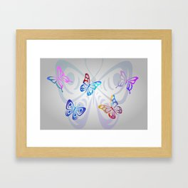 Big Butterflies with grey background Framed Art Print