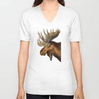 moose V-neck T-shirts featuring Moose by Tim Jeffs Art
