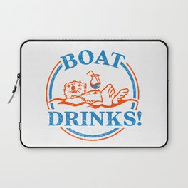 """""""Boat Drinks"""" Cute & Funny Otter Drinking A Cocktail Laptop Sleeve"""