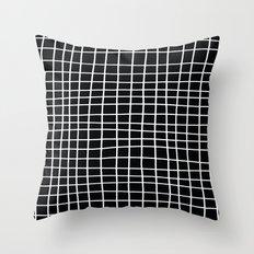 Handdawn Grid Black Throw Pillow