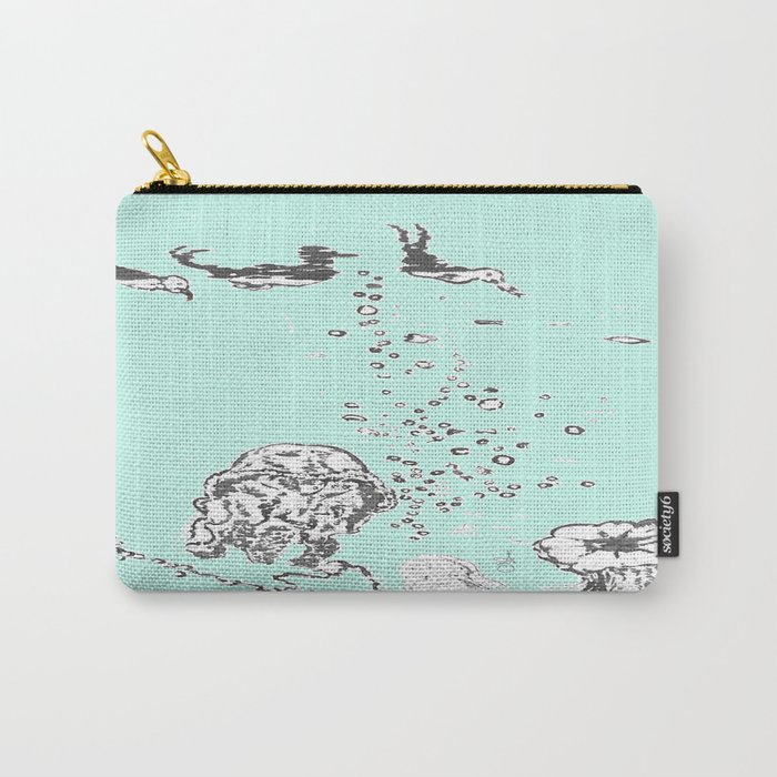 Two Tailed Duck and Jellyfish Mint Green Carry-All Pouch