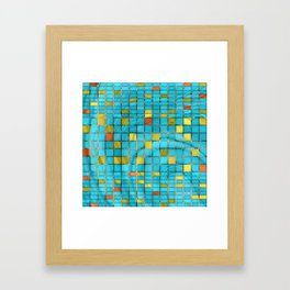 Block Aqua Blue and Yellow Art - Block Party 2 - Sharon Cummings Framed Art Print