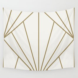 Diamond Series Sun Burst Gold on White Wall Tapestry