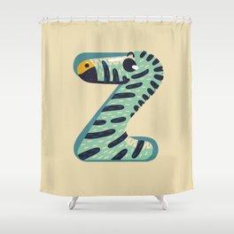 Z for Zebra Shower Curtain
