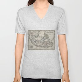 Vintage Map of Indonesia and The Philippines Unisex V-Neck