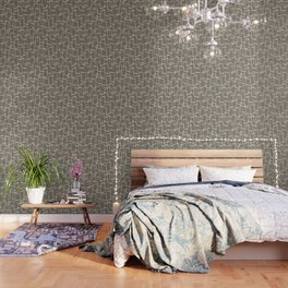 Dark Warm Gray Mid Century Geometric Pattern Wallpaper
