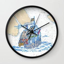 Sailing Ship X Wall Clock