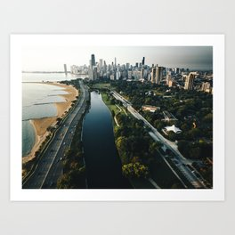 chicago aerial view of the skyline Art Print
