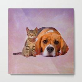 Beagle dog and kitten digital art Metal Print