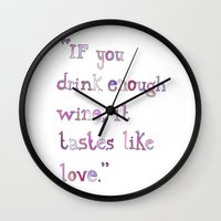 wine Wall Clocks featuring Wine by S. L. Fina