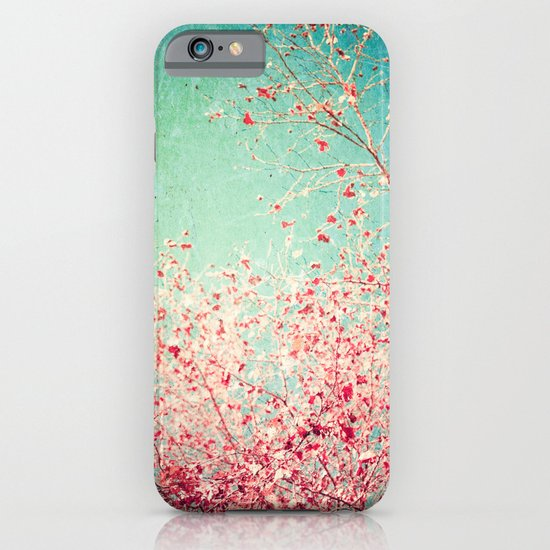 Blue Autumn, Pink leafs on blue, turquoise, green, aqua sky iPhone & iPod Case
