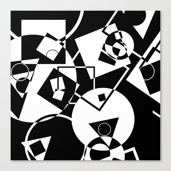 Simply Black And white - Abstract, geometric, retro, black and white random pattern Canvas Print