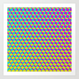 Colorful 3D Cubes Pattern Art Print