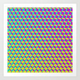 Colorful 3D Cubes Pattern Art Print