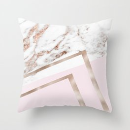 Geometric marble - luxe rose gold edition I Throw Pillow