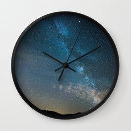 Blue Milky Way Galaxy Stars At Night Wall Clock