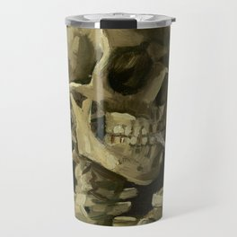 Skull of a Skeleton with Burning Cigarette Painting by Vincent van Gogh Travel Mug
