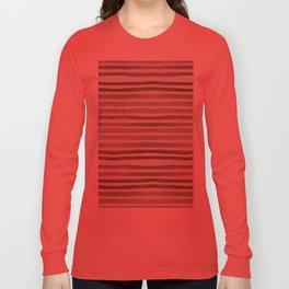 Simply Shibori Stripes Earth Brown on Lunar Gray Long Sleeve T-shirt