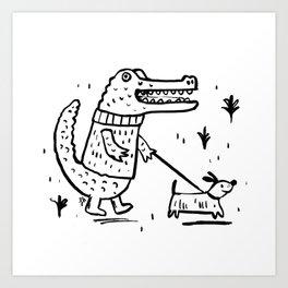 Croc Walk Art Print