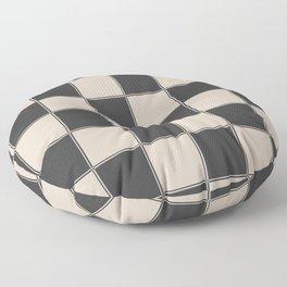 Traditional Checkerboard, Ecru-Beige and Chocolate-Deep Brown Floor Pillow