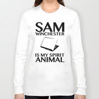 sam winchester Long Sleeve T-shirts featuring Sam Winchester is my spirit animal by ElectricShotgun