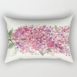Pink Lilacs Floral Watercolor Garden Flower Nature Art Rectangular Pillow