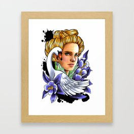 Victorian woman - The Swan. Framed Art Print