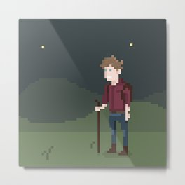 8BIT Night Trekking Metal Print
