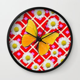 Red Color Shasta Daisys & yellow butterfly Pattern Garden Art Wall Clock