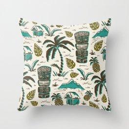Tiki Party - Ivory Aqua Throw Pillow
