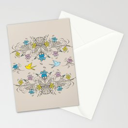 Shabby Chic vintage lily flowers bouquet and birds 2 Stationery Cards