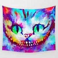 cheshire cat Wall Tapestries featuring Cheshire Cat by Melanie Tassone Art