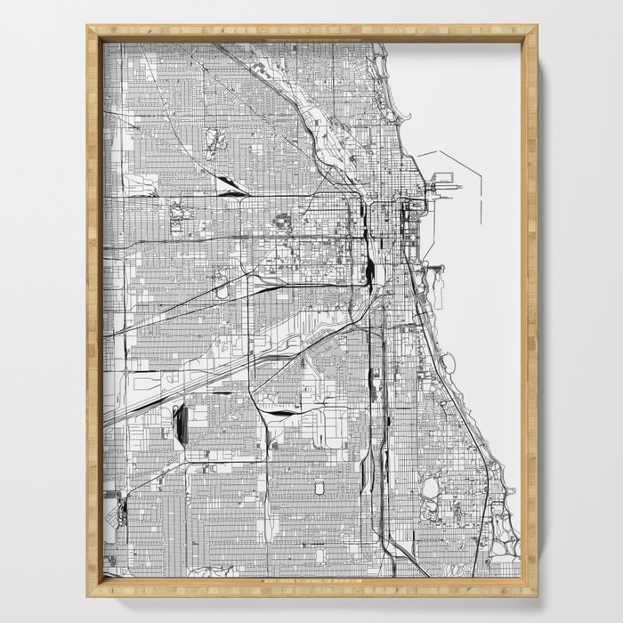 Chicago White Map Serving Tray