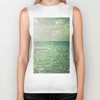 beach Biker Tanks featuring Sea of Happiness by Olivia Joy StClaire