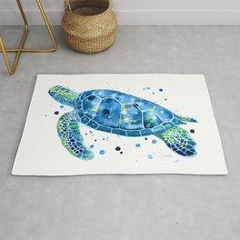 Sargasso Blue Sea Turtle - watercolor sea turtle Rug