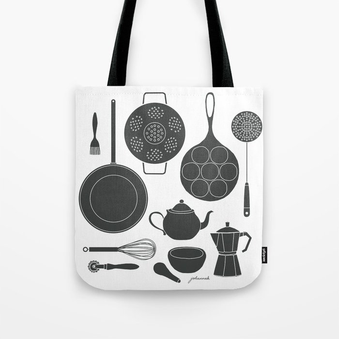 Kitchen Tools (black on white) Tote Bag