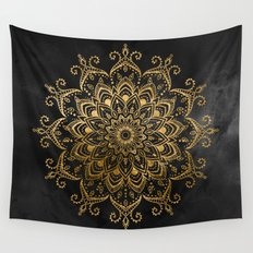 Black and Faux Gold Tapestry Wall Tapestry
