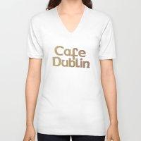 irish V-neck T-shirts featuring Irish Pub by Eirin Wie Haveland