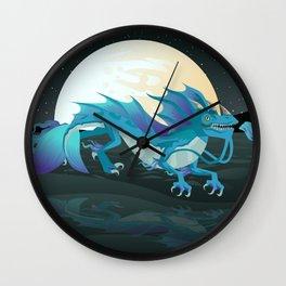 sea water chinese dragon Wall Clock