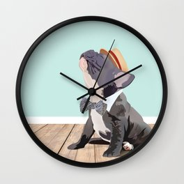 French Bulldog Singing His Heart Out, Barbershop Style Wall Clock